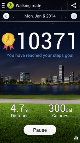 Number of Steps for Jan 06 2014